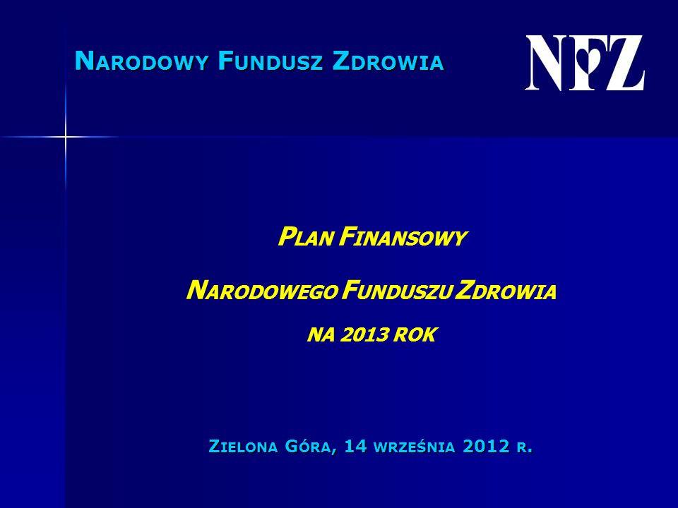 P LAN F INANSOWY N ARODOWEGO F UNDUSZU Z DROWIA NA 2013 ROK Z IELONA G ÓRA, 14 WRZEŚNIA 2012 R.