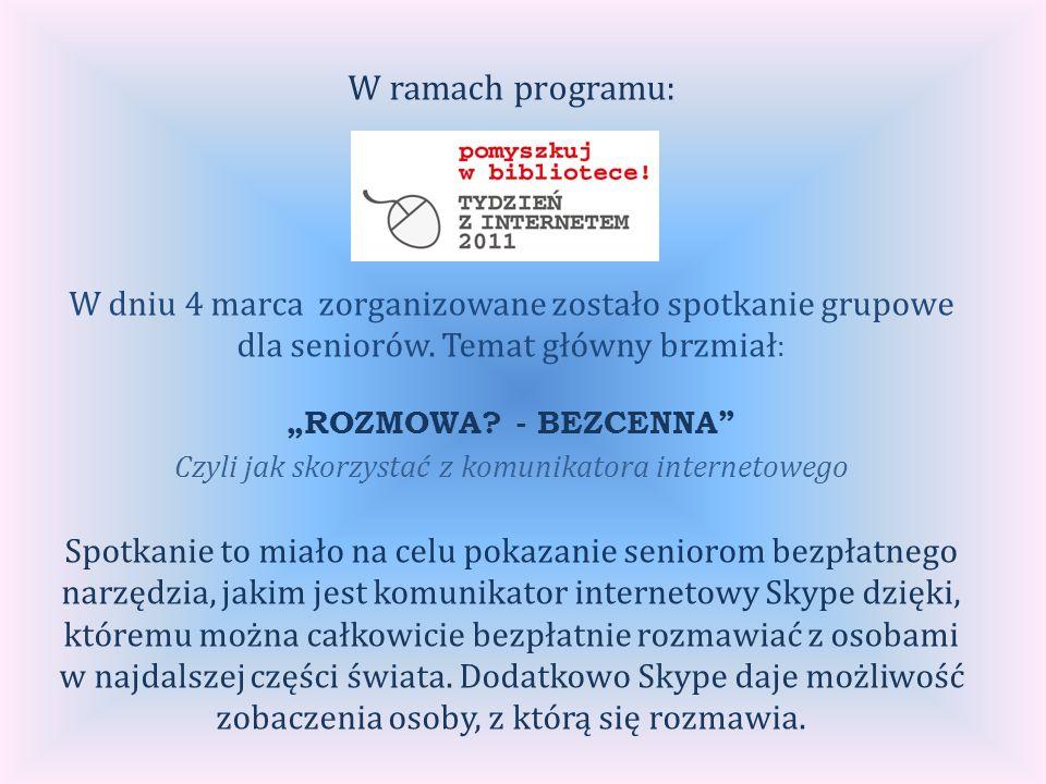 W ramach programu: W dniu 4 marca zorganizowane zostało spotkanie grupowe dla seniorów.