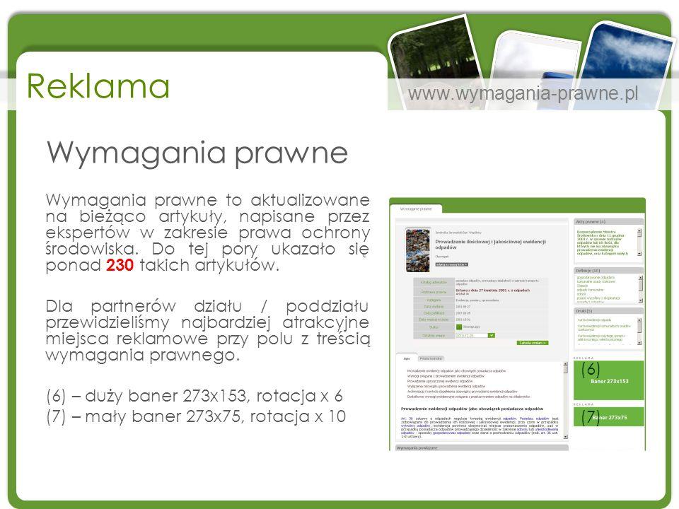 www.wymagania-prawne.pl Reklama Wymagania prawne Wymagania prawne to aktualizowane na bieżąco artykuły, napisane przez ekspertów w zakresie prawa ochr