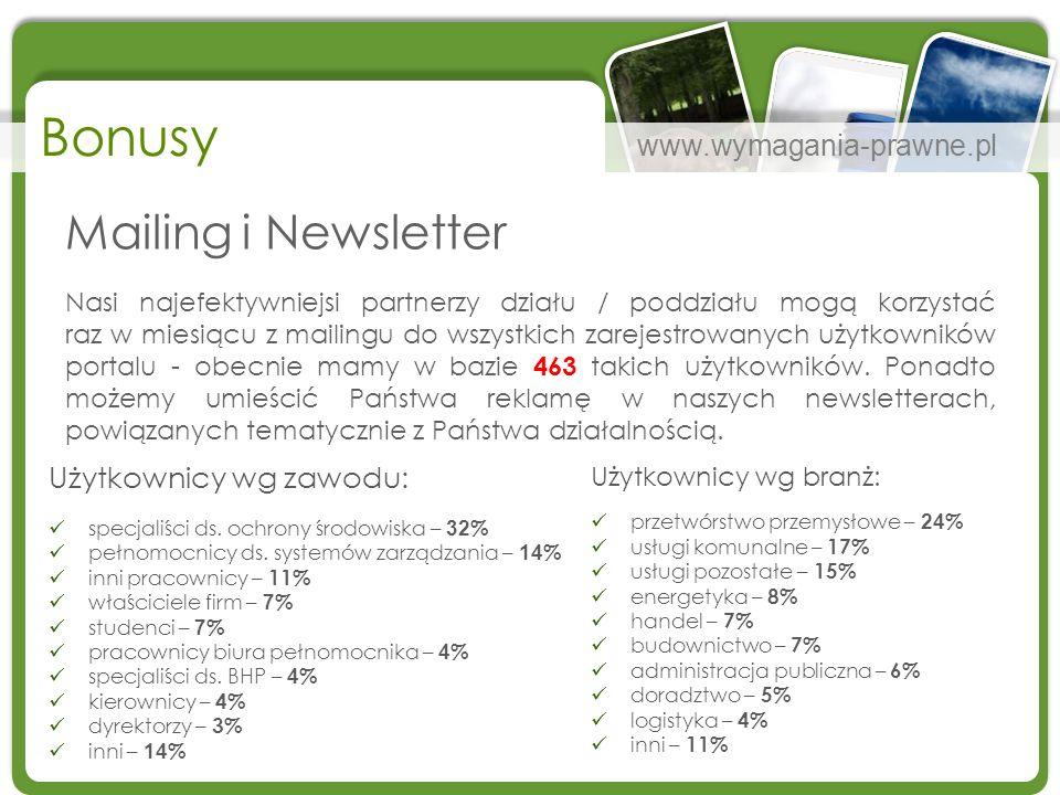 www.wymagania-prawne.pl Bonusy Użytkownicy wg zawodu: specjaliści ds. ochrony środowiska – 32 % pełnomocnicy ds. systemów zarządzania – 14 % inni prac