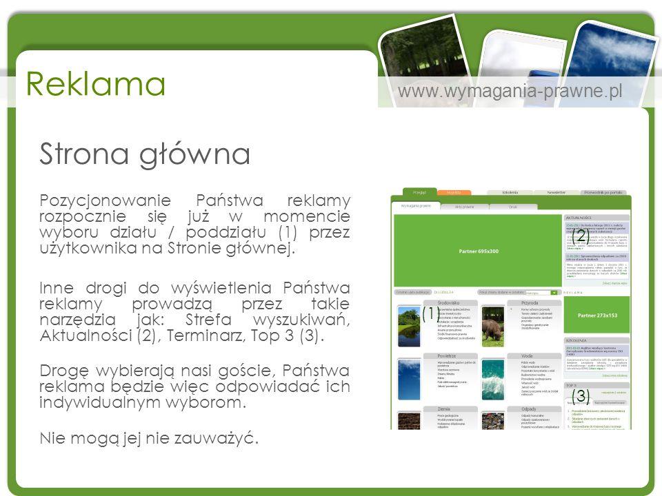 www.wymagania-prawne.pl Reklama Strona główna Pozycjonowanie Państwa reklamy rozpocznie się już w momencie wyboru działu / poddziału (1) przez użytkow