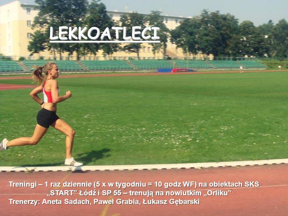 Treningi – 1 raz dziennie (5 x w tygodniu = 10 godz WF) na obiektach SKS START Łódź i SP 55 – trenują na nowiutkim Orliku START Łódź i SP 55 – trenują