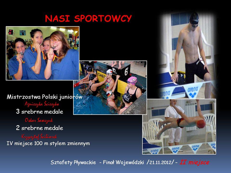 Mistrzostwa Polski juniorów Agnieszka Ścieszko 3 srebrne medale Oskar Sawczuk 2 srebrne medale Krzysztof Ścibiorek IV miejsce 100 m stylem zmiennym Sz