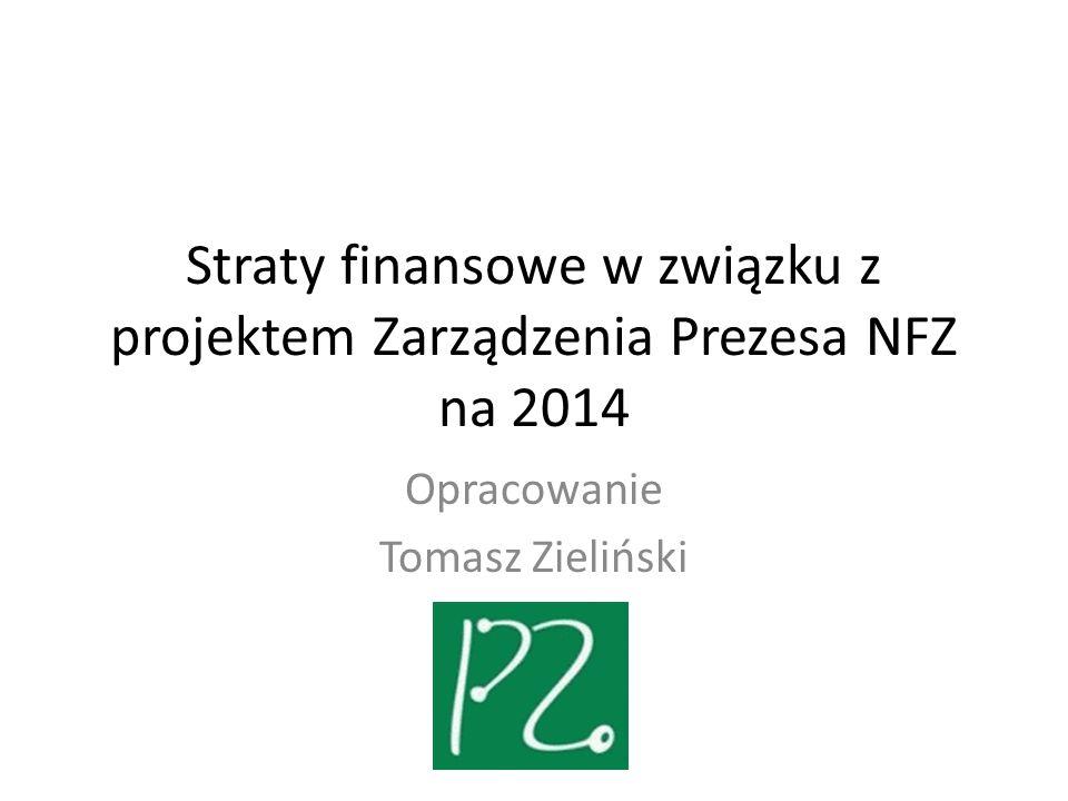 Straty finansowe w związku z projektem Zarządzenia Prezesa NFZ na 2014 Opracowanie Tomasz Zieliński