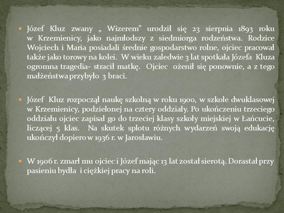 Józef Kluz zwany Wizerem urodził się 23 sierpnia 1893 roku w Krzemienicy, jako najmłodszy z siedmiorga rodzeństwa. Rodzice Wojciech i Maria posiadali