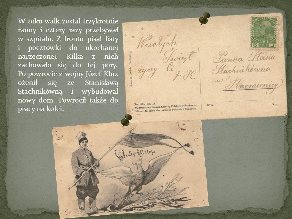 W toku walk został trzykrotnie ranny i cztery razy przebywał w szpitalu. Z frontu pisał listy i pocztówki do ukochanej narzeczonej. Kilka z nich zacho