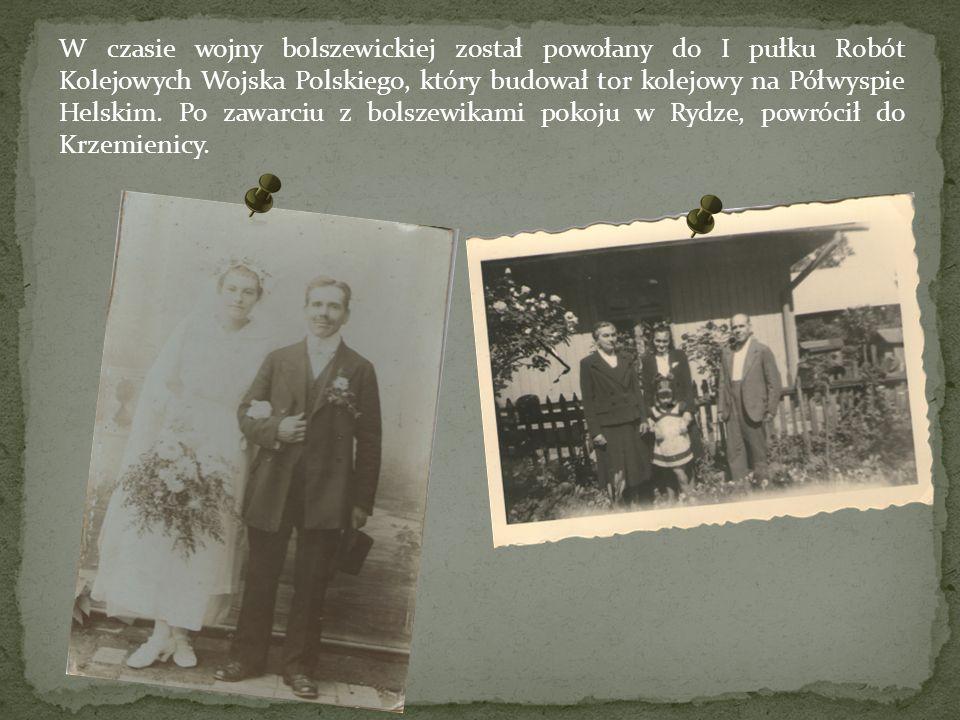 W czasie wojny bolszewickiej został powołany do I pułku Robót Kolejowych Wojska Polskiego, który budował tor kolejowy na Półwyspie Helskim. Po zawarci