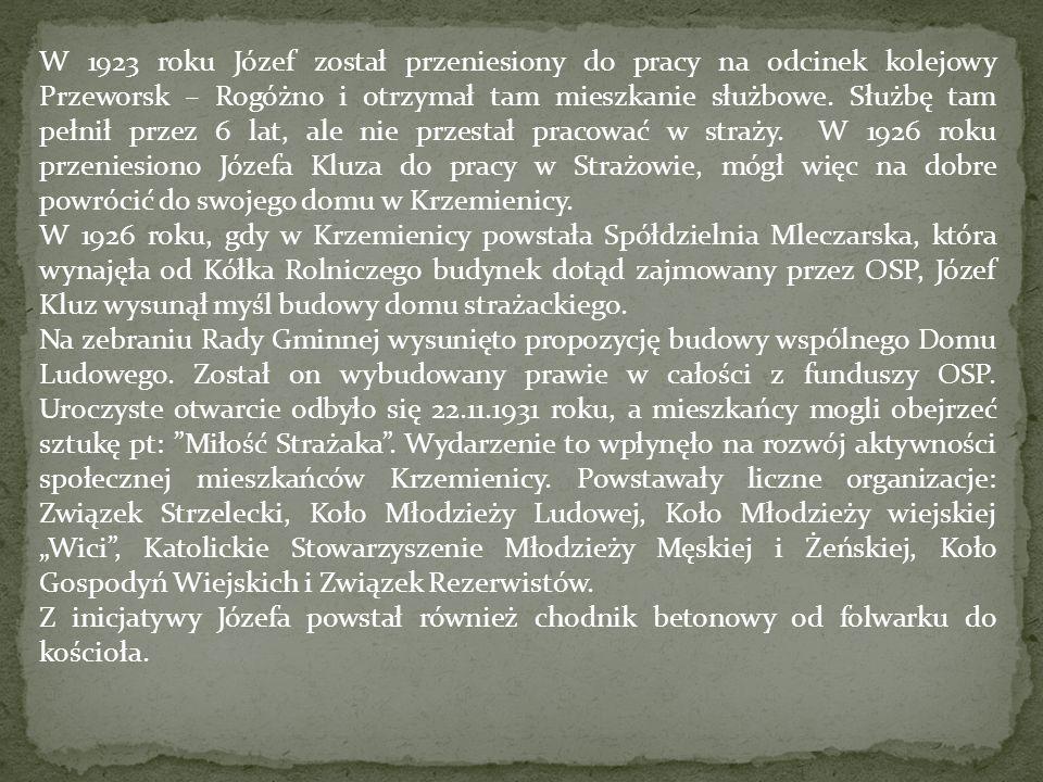 W 1923 roku Józef został przeniesiony do pracy na odcinek kolejowy Przeworsk – Rogóżno i otrzymał tam mieszkanie służbowe. Służbę tam pełnił przez 6 l