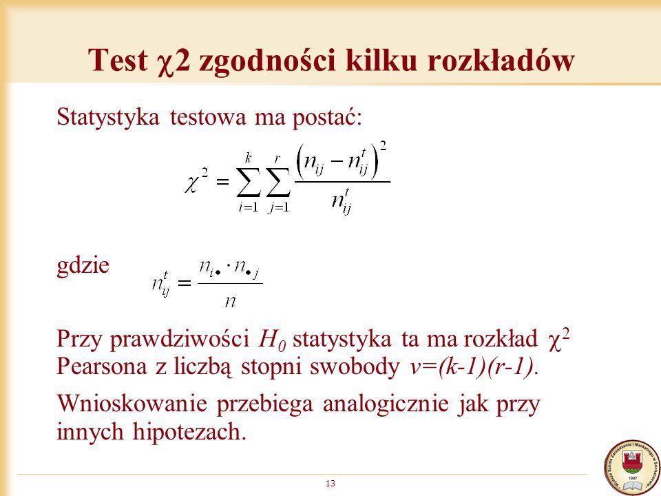 Test 2 zgodności kilku rozkładów Statystyka testowa ma postać: gdzie Przy prawdziwości H 0 statystyka ta ma rozkład 2 Pearsona z liczbą stopni swobody v=(k-1)(r-1).