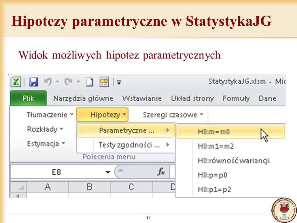 Hipotezy parametryczne w StatystykaJG 17 Widok możliwych hipotez parametrycznych