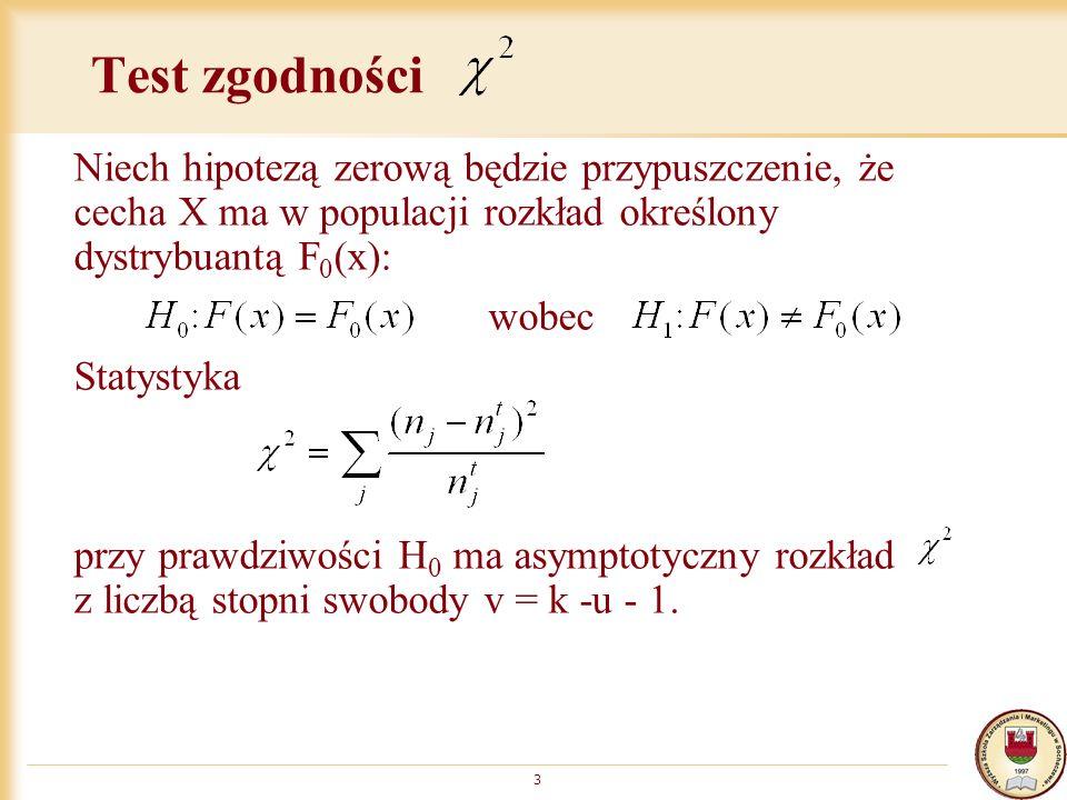 Test zgodności Niech hipotezą zerową będzie przypuszczenie, że cecha X ma w populacji rozkład określony dystrybuantą F 0 (x): wobec Statystyka przy prawdziwości H 0 ma asymptotyczny rozkład z liczbą stopni swobody v = k -u - 1.