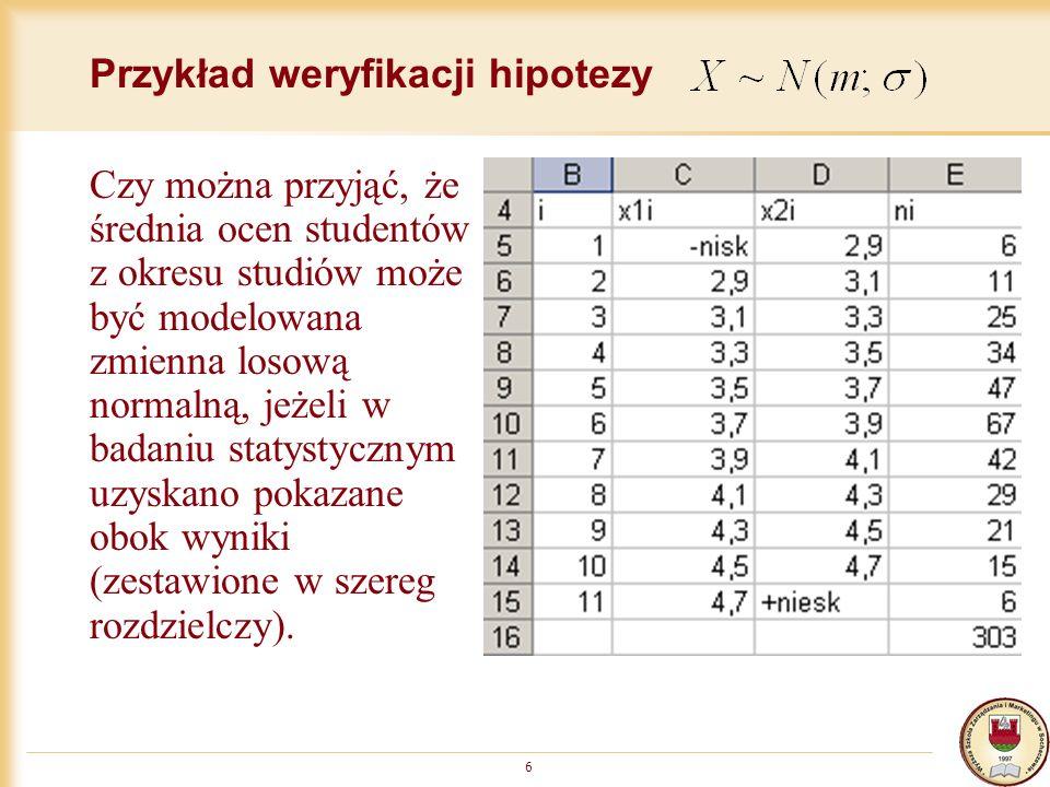 Przykład weryfikacji hipotezy 6 Czy można przyjąć, że średnia ocen studentów z okresu studiów może być modelowana zmienna losową normalną, jeżeli w badaniu statystycznym uzyskano pokazane obok wyniki (zestawione w szereg rozdzielczy).