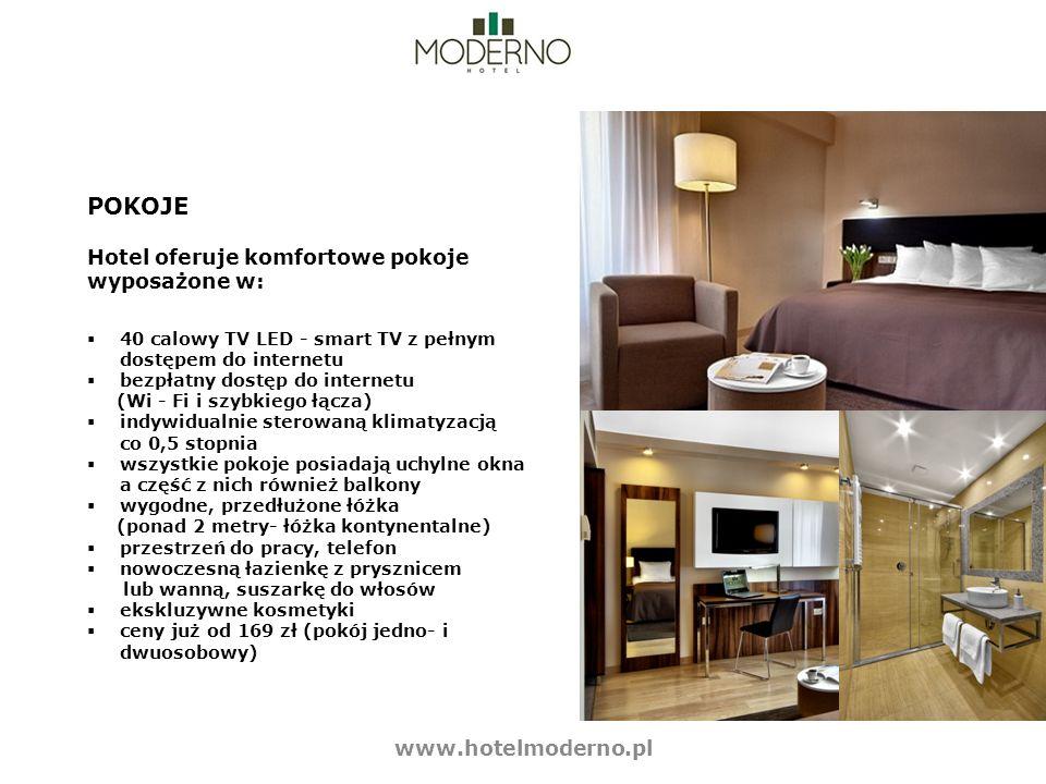 POKOJE Hotel oferuje komfortowe pokoje wyposażone w: 40 calowy TV LED - smart TV z pełnym dostępem do internetu bezpłatny dostęp do internetu (Wi - Fi