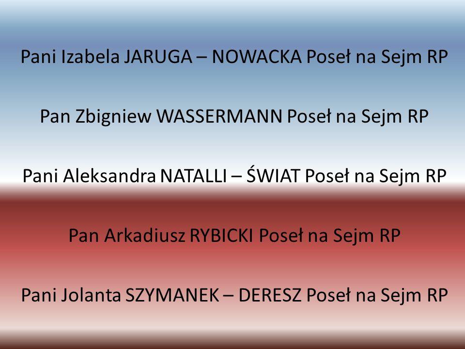 Pan Wiesław WODA Poseł na Sejm RP Pan Edward WOJTAS Poseł na Sejm RP Pani Janina FETLIŃSKA Senator RP Pan Stanisław ZAJĄC Senator RP