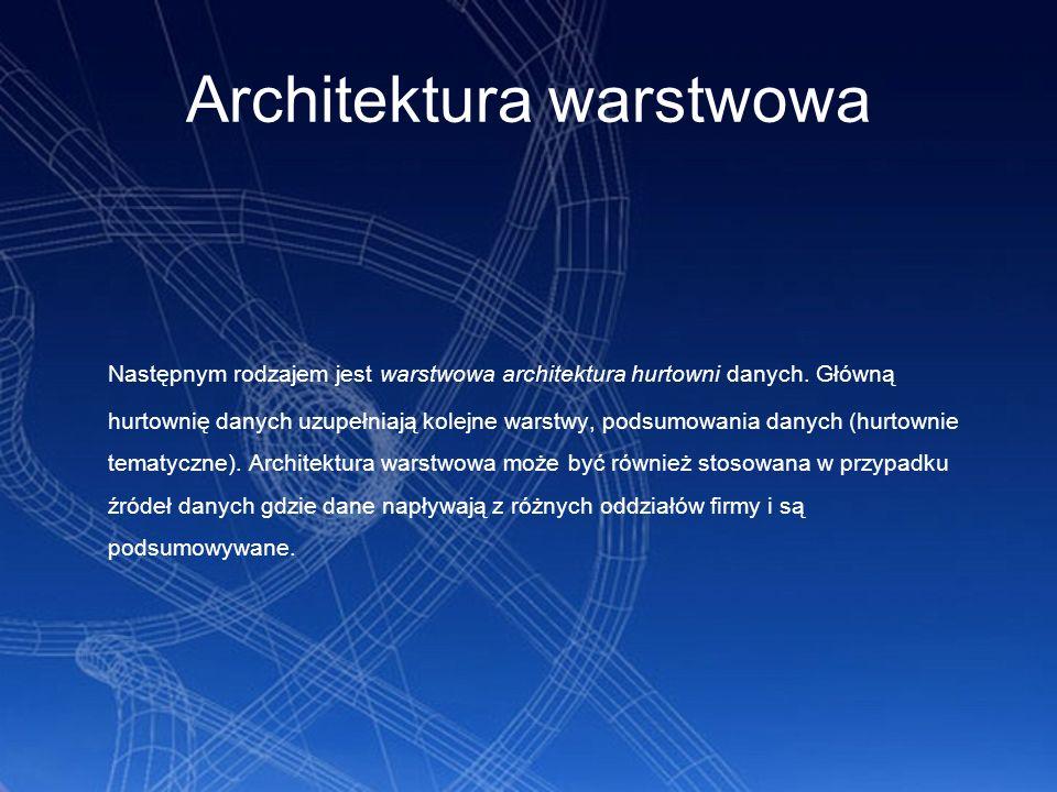 Architektura warstwowa Następnym rodzajem jest warstwowa architektura hurtowni danych. Główną hurtownię danych uzupełniają kolejne warstwy, podsumowan