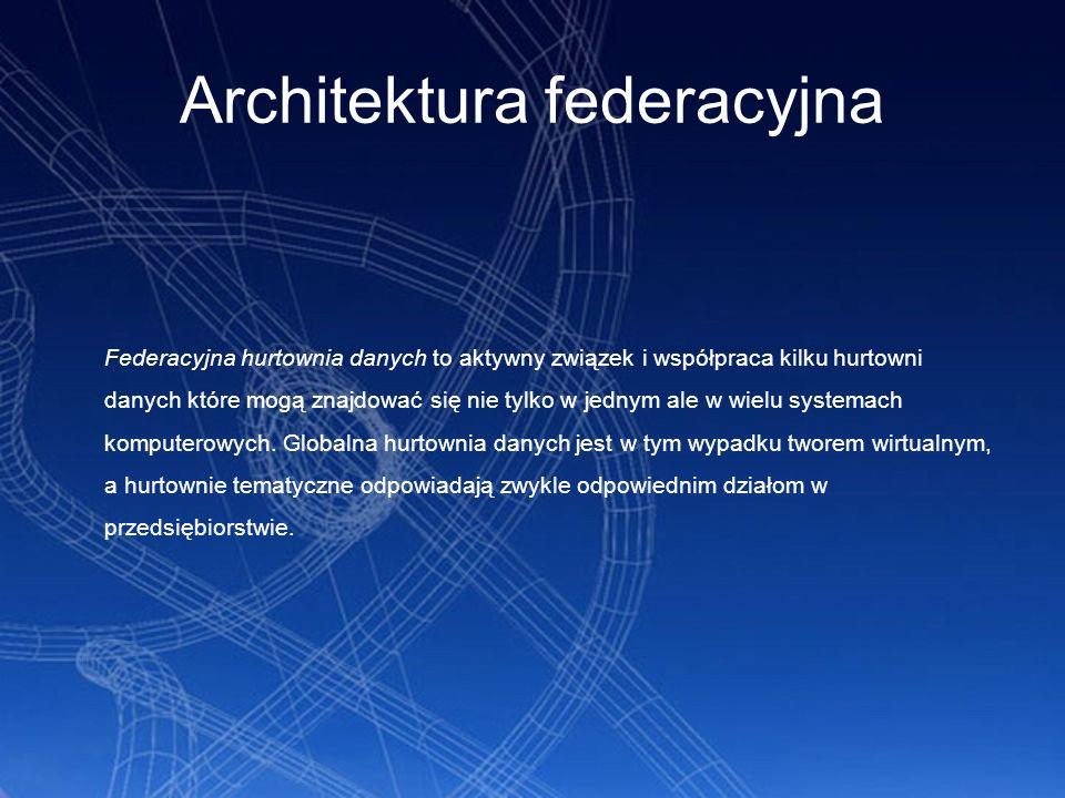 Architektura federacyjna Federacyjna hurtownia danych to aktywny związek i współpraca kilku hurtowni danych które mogą znajdować się nie tylko w jedny