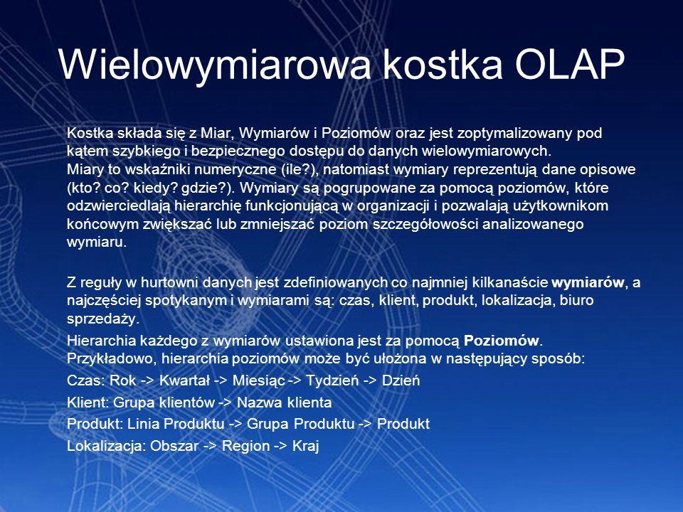 Wielowymiarowa kostka OLAP Kostka składa się z Miar, Wymiarów i Poziomów oraz jest zoptymalizowany pod kątem szybkiego i bezpiecznego dostępu do danyc