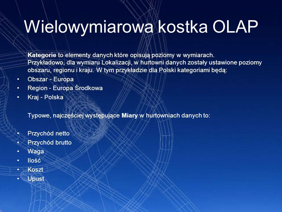 Wielowymiarowa kostka OLAP Kategorie to elementy danych które opisują poziomy w wymiarach. Przykładowo, dla wymiaru Lokalizacji, w hurtowni danych zos