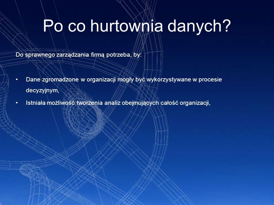 Po co hurtownia danych? Do sprawnego zarządzania firmą potrzeba, by: Dane zgromadzone w organizacji mogły być wykorzystywane w procesie decyzyjnym, Is