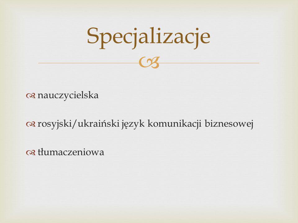 nauczycielska rosyjski/ukraiński język komunikacji biznesowej tłumaczeniowa Specjalizacje
