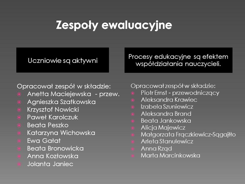 Uczniowie są aktywni Procesy edukacyjne są efektem współdziałania nauczycieli. Opracował zespół w składzie: Anetta Maciejewska - przew. Agnieszka Szat