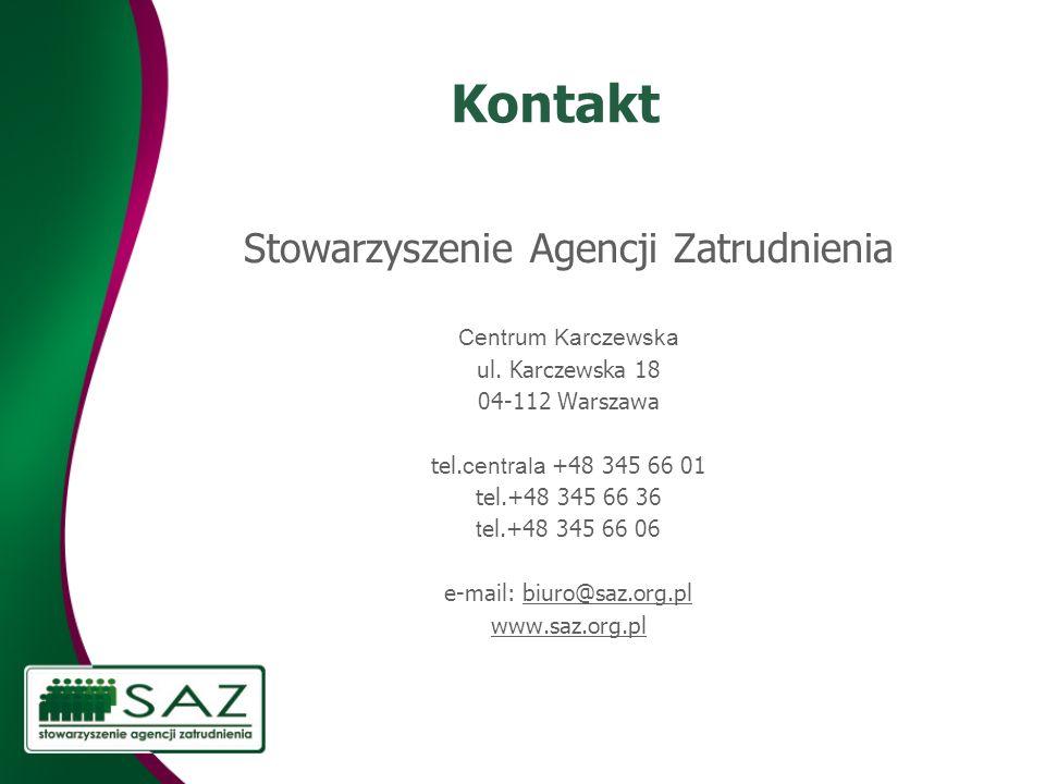 Kontakt Stowarzyszenie Agencji Zatrudnienia Centrum Karczewska ul. Karczewska 18 04-112 Warszawa tel. centrala +48 345 66 01 tel.+48 345 66 36 t el.+4