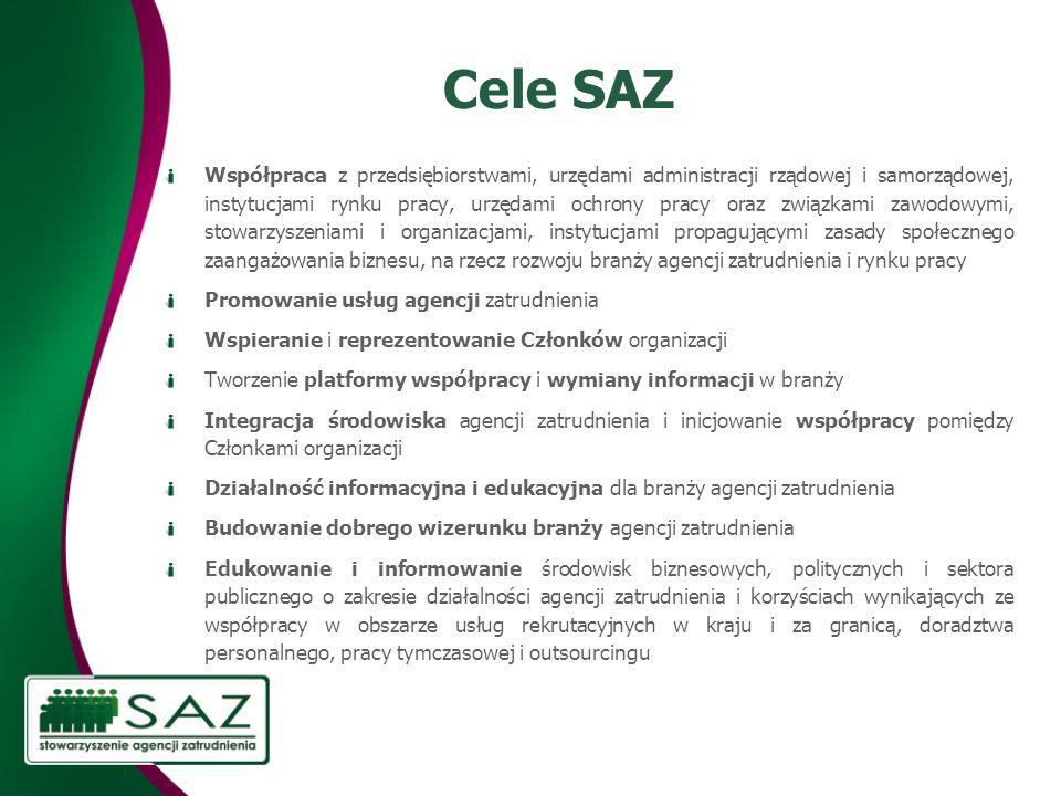 Cele SAZ Współpraca z przedsiębiorstwami, urzędami administracji rządowej i samorządowej, instytucjami rynku pracy, urzędami ochrony pracy oraz związk