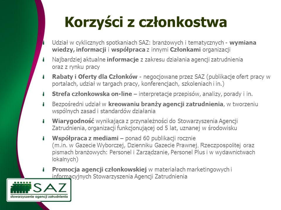 Korzyści z członkostwa Udział w cyklicznych spotkaniach SAZ: branżowych i tematycznych - wymiana wiedzy, informacji i współpraca z innymi Członkami or