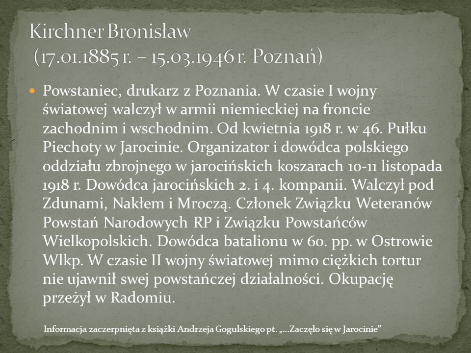 Gogulski Andrzej … Zaczęło się w Jarocinie, Jarocin 2013r.