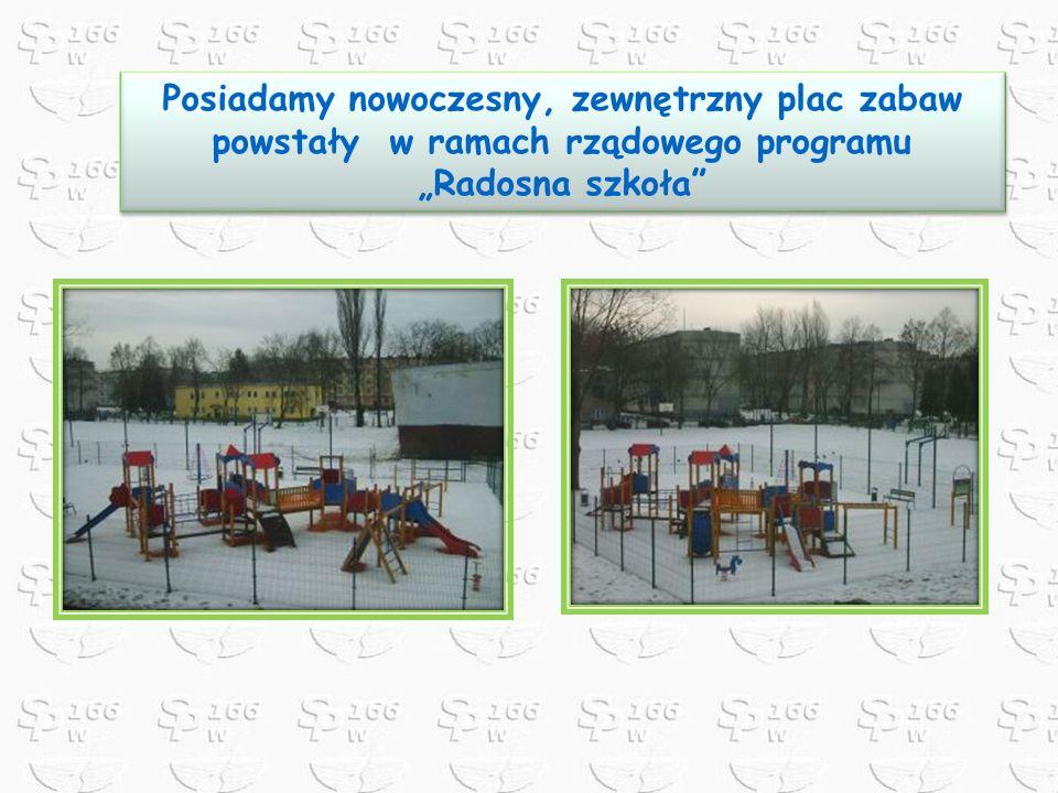 Posiadamy nowoczesny, zewnętrzny plac zabaw powstały w ramach rządowego programu Radosna szkoła Posiadamy nowoczesny, zewnętrzny plac zabaw powstały w