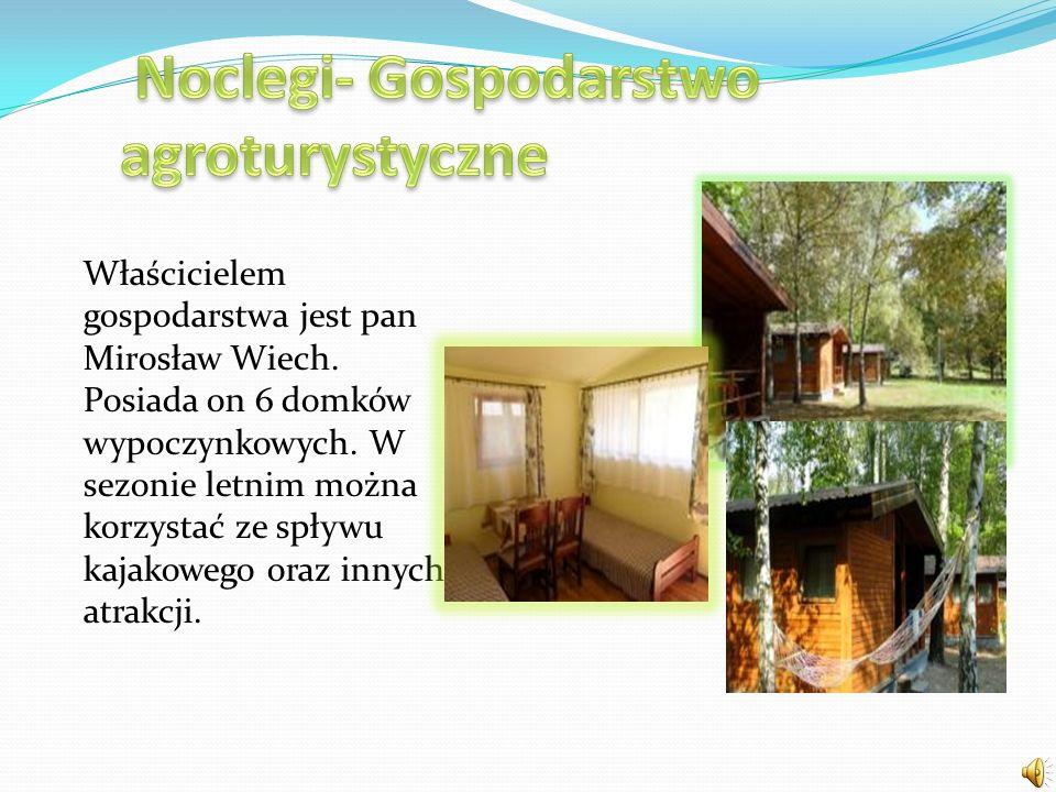 Właścicielem gospodarstwa jest pan Mirosław Wiech. Posiada on 6 domków wypoczynkowych. W sezonie letnim można korzystać ze spływu kajakowego oraz inny