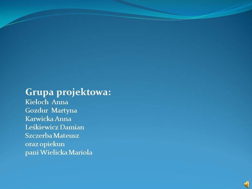 Grupa projektowa: Kieloch Anna Gozdur Martyna Karwicka Anna Leśkiewicz Damian Szczerba Mateusz oraz opiekun pani Wielicka Mariola