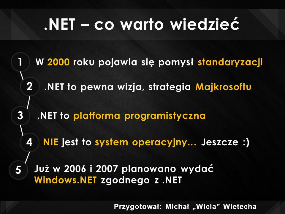 .NET – co warto wiedzieć 6.NET stawia nacisk na Internet jako źródło komunikacji 7 8.NET ma działać na wszystkich platformach...