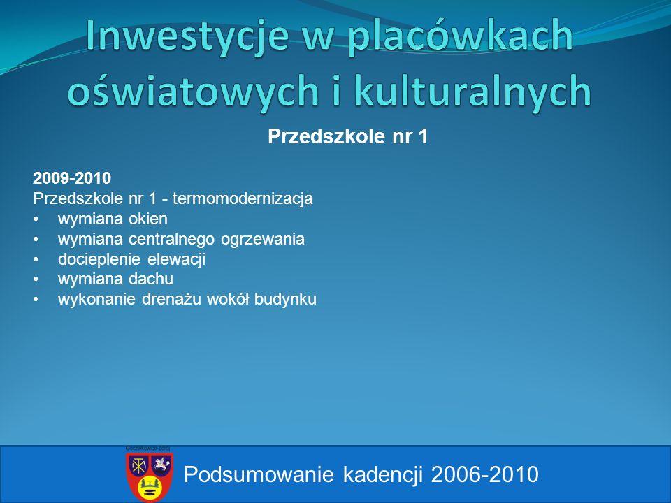 Podsumowanie kadencji 2006-2010 Przedszkole nr 1 2009-2010 Przedszkole nr 1 - termomodernizacja wymiana okien wymiana centralnego ogrzewania docieplen