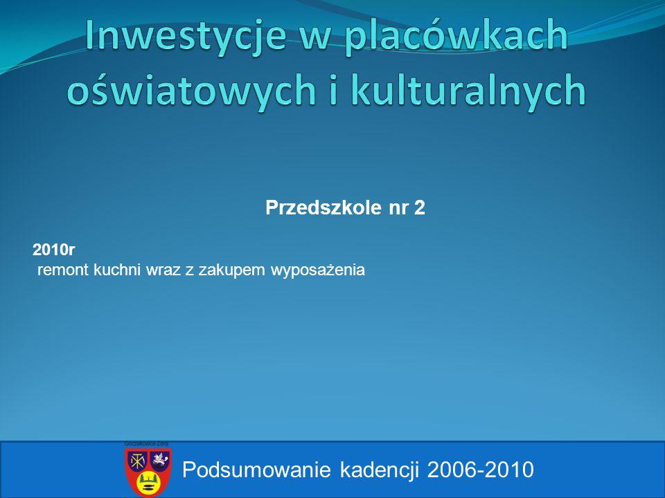 Podsumowanie kadencji 2006-2010 Przedszkole nr 2 2010r remont kuchni wraz z zakupem wyposażenia