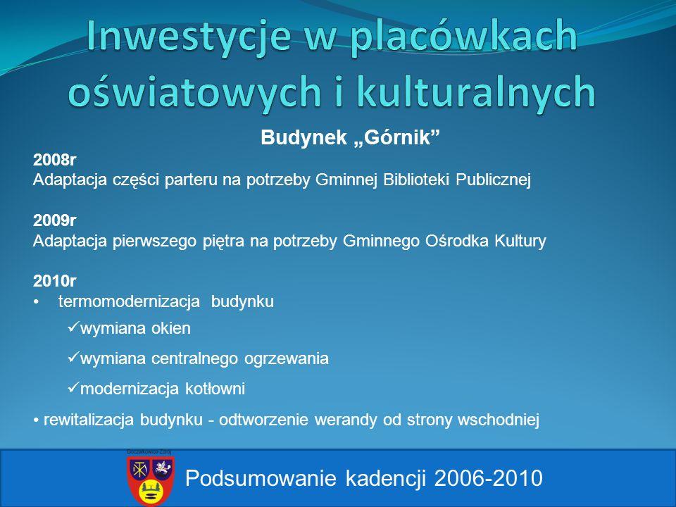 Podsumowanie kadencji 2006-2010 Budynek Górnik 2008r Adaptacja części parteru na potrzeby Gminnej Biblioteki Publicznej 2009r Adaptacja pierwszego pię