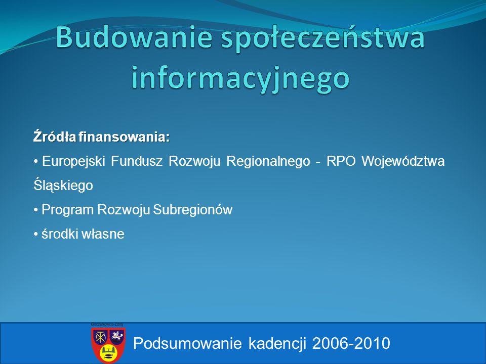 Podsumowanie kadencji 2006-2010 Źródła finansowania: Europejski Fundusz Rozwoju Regionalnego - RPO Województwa Śląskiego Program Rozwoju Subregionów ś