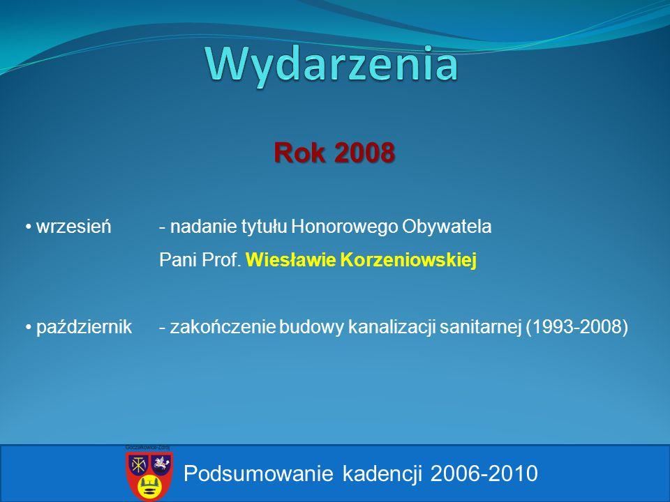 Podsumowanie kadencji 2006-2010 wrzesień - nadanie tytułu Honorowego Obywatela Pani Prof. Wiesławie Korzeniowskiej październik - zakończenie budowy ka