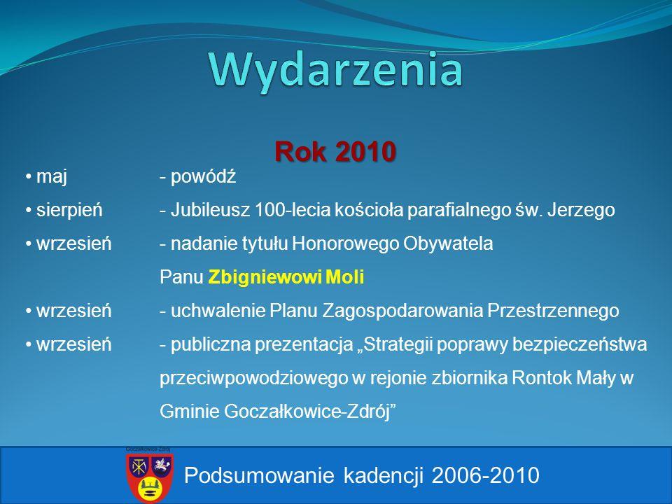 Podsumowanie kadencji 2006-2010 maj - powódź sierpień - Jubileusz 100-lecia kościoła parafialnego św. Jerzego wrzesień - nadanie tytułu Honorowego Oby