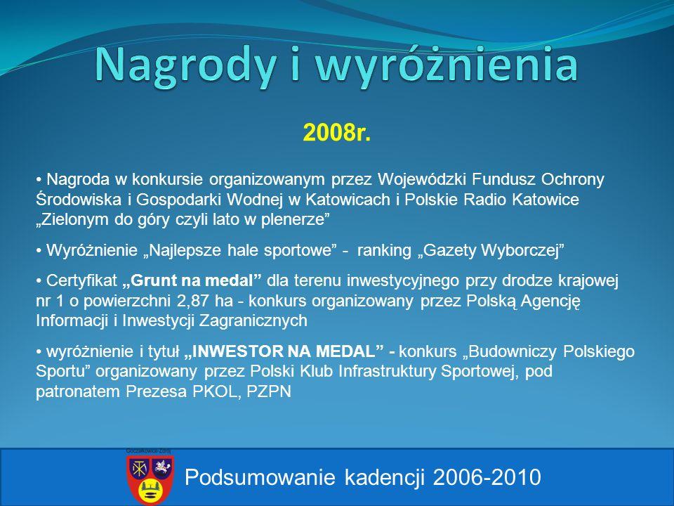 Podsumowanie kadencji 2006-2010 2008r. Nagroda w konkursie organizowanym przez Wojewódzki Fundusz Ochrony Środowiska i Gospodarki Wodnej w Katowicach