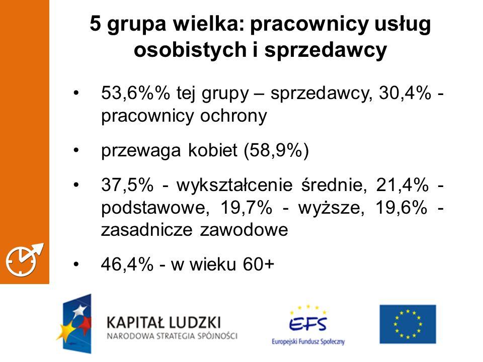 5 grupa wielka: pracownicy usług osobistych i sprzedawcy 53,6% tej grupy – sprzedawcy, 30,4% - pracownicy ochrony przewaga kobiet (58,9%) 37,5% - wykształcenie średnie, 21,4% - podstawowe, 19,7% - wyższe, 19,6% - zasadnicze zawodowe 46,4% - w wieku 60+