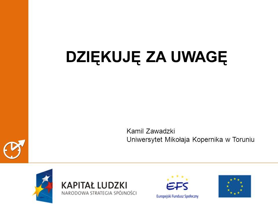 DZIĘKUJĘ ZA UWAGĘ Kamil Zawadzki Uniwersytet Mikołaja Kopernika w Toruniu