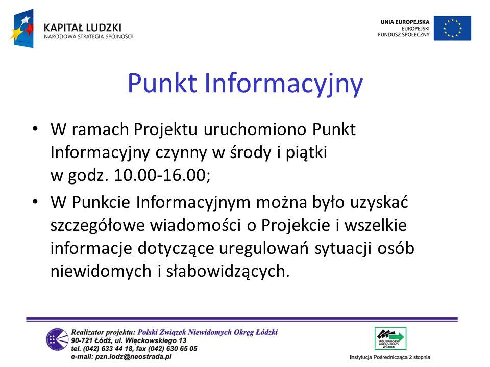 W ramach Projektu uruchomiono Punkt Informacyjny czynny w środy i piątki w godz. 10.00-16.00; W Punkcie Informacyjnym można było uzyskać szczegółowe w