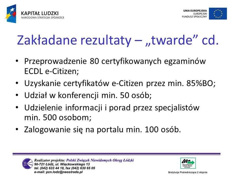 Przeprowadzenie 80 certyfikowanych egzaminów ECDL e-Citizen; Uzyskanie certyfikatów e-Citizen przez min. 85%BO; Udział w konferencji min. 50 osób; Udz