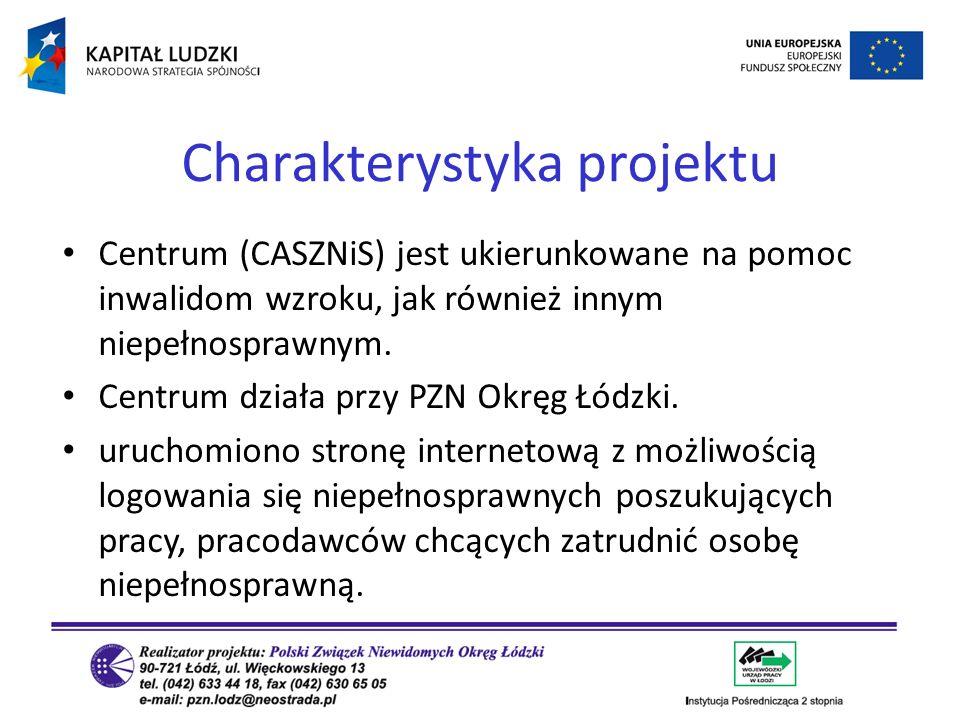 Centrum (CASZNiS) jest ukierunkowane na pomoc inwalidom wzroku, jak również innym niepełnosprawnym. Centrum działa przy PZN Okręg Łódzki. uruchomiono