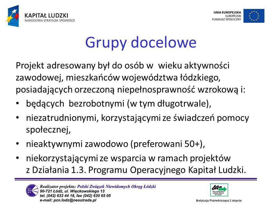 Projekt adresowany był do osób w wieku aktywności zawodowej, mieszkańców województwa łódzkiego, posiadających orzeczoną niepełnosprawność wzrokową i: będących bezrobotnymi (w tym długotrwale), niezatrudnionymi, korzystającymi ze świadczeń pomocy społecznej, nieaktywnymi zawodowo (preferowani 50+), niekorzystającymi ze wsparcia w ramach projektów z Działania 1.3.