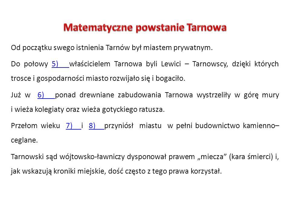 Od początku swego istnienia Tarnów był miastem prywatnym. Do połowy 5) właścicielem Tarnowa byli Lewici – Tarnowscy, dzięki których trosce i gospodarn