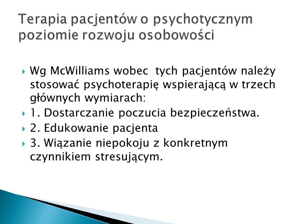 Wg McWilliams wobec tych pacjentów należy stosować psychoterapię wspierającą w trzech głównych wymiarach: 1. Dostarczanie poczucia bezpieczeństwa. 2.