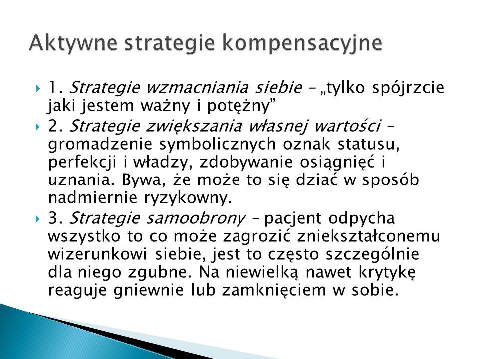 1. Strategie wzmacniania siebie – tylko spójrzcie jaki jestem ważny i potężny 2. Strategie zwiększania własnej wartości – gromadzenie symbolicznych oz