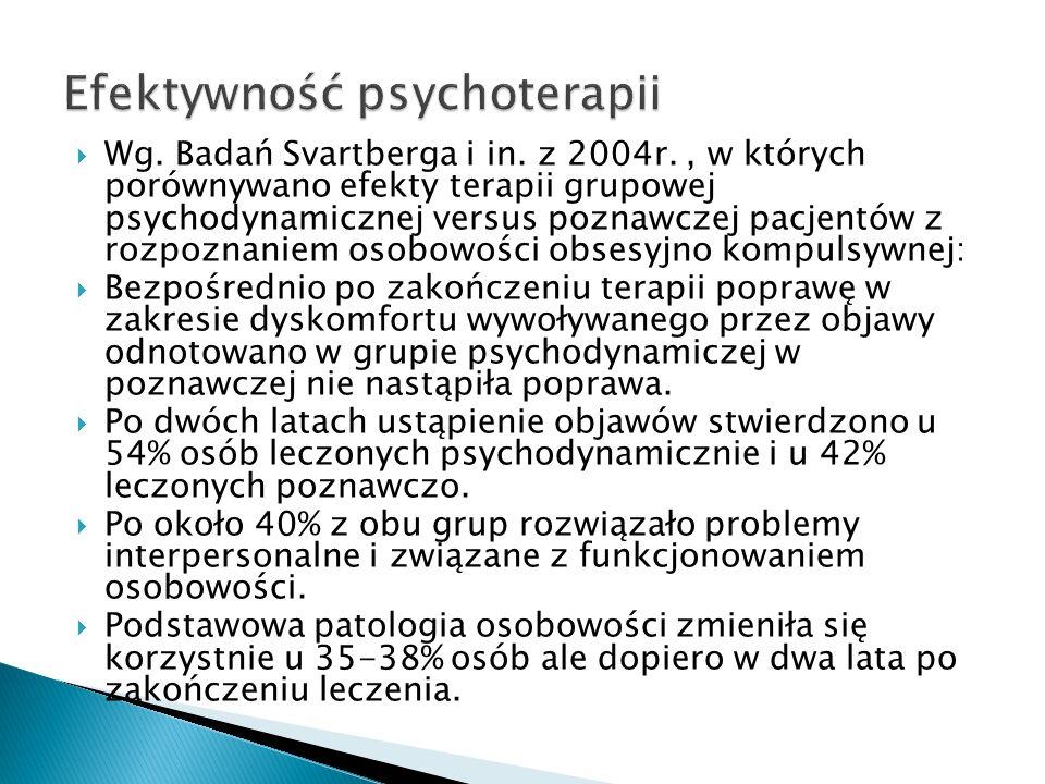 Wg. Badań Svartberga i in. z 2004r., w których porównywano efekty terapii grupowej psychodynamicznej versus poznawczej pacjentów z rozpoznaniem osobow